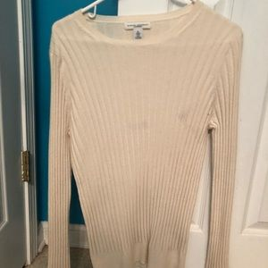 NWOT cream cashmere light sweater XL